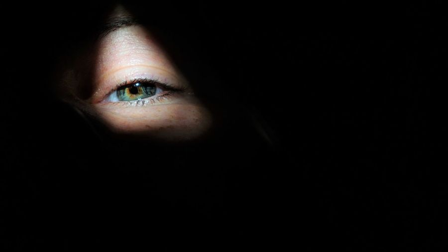 Peekaboo One Person Eye Human Body Part Human Eye Portrait Body Part Black Background Adult Human Face Front View Looking At Camera Women Young Adult Close-up Copy Space Indoors  Dark Sensory Perception Contemplation Beautiful Woman Eyeball Eyebrow See I See You Looking At Camera