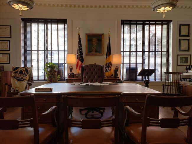 American Flag Flags Desk Pennsylvania Pittsburgh Business Finance And Industry Politics And Government Politics Government Government Building Chair Window Table Office Building Historic Federal Building Democracy Desk Lamp Small Office Politician