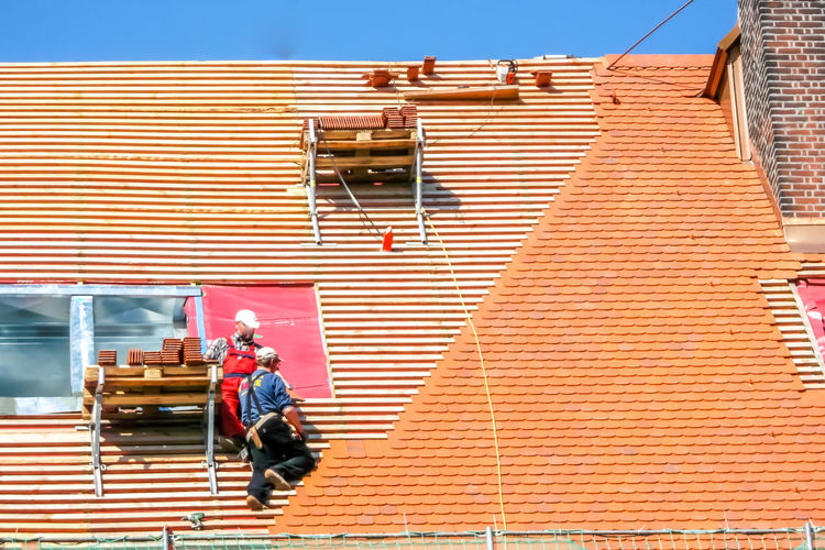 Construction Construction Site Construction Machinery Renovation Roof Rooftop Scaffolding Work Working Working Hard Building Site Cement Construction Industry Construction Work Construction Worker Dachdecker Day Daylight House Building Immobile Immobilien New Build New Building  Real Estate