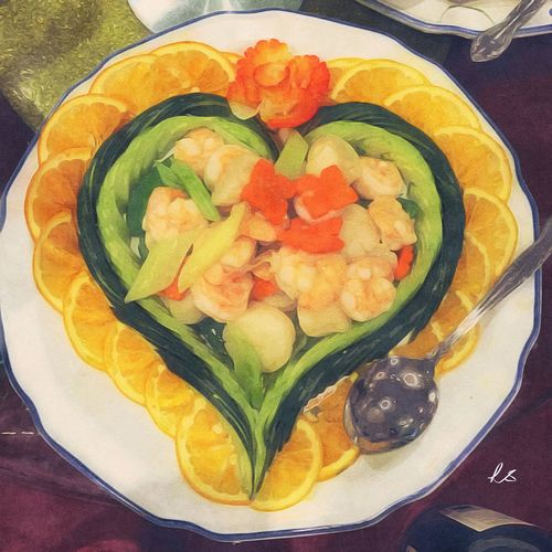 A Taste Of Life just Painted my favorite dish at the Chinese Wedding Banquet it's a simple Dish of Prawns and Veggies decorated with slices of Oranges but I loved the Heartshaped presentation!