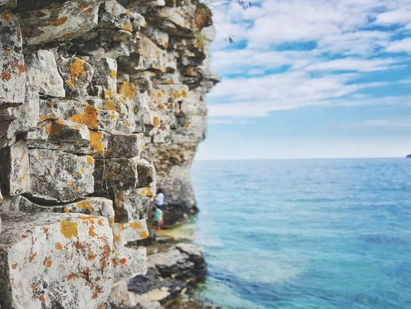 Flowerpotisland Tobermory Sea Sky Nature Water Rock - Object Horizon Over Water Scenics Beauty In Nature Outdoors Tranquility No People Cloud - Sky Cliff Tranquil Scene Day EyeEmNewHere EyeEmNewHere