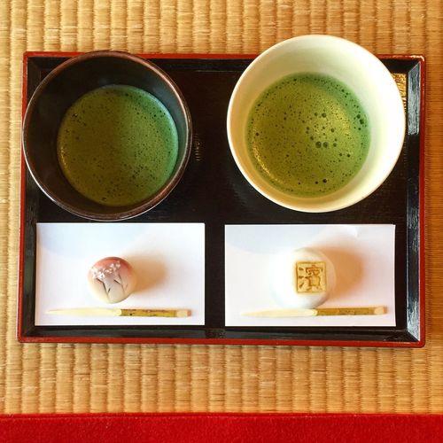 Hamarikiu Garden Match Green Tea Drink Food And Drink Japanesefood Japanesesweets Sweets 抹茶 お茶 上生菓子 日本 Japan