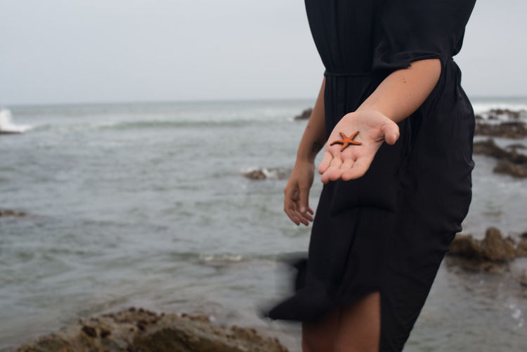 Close-up of woman holding starfish