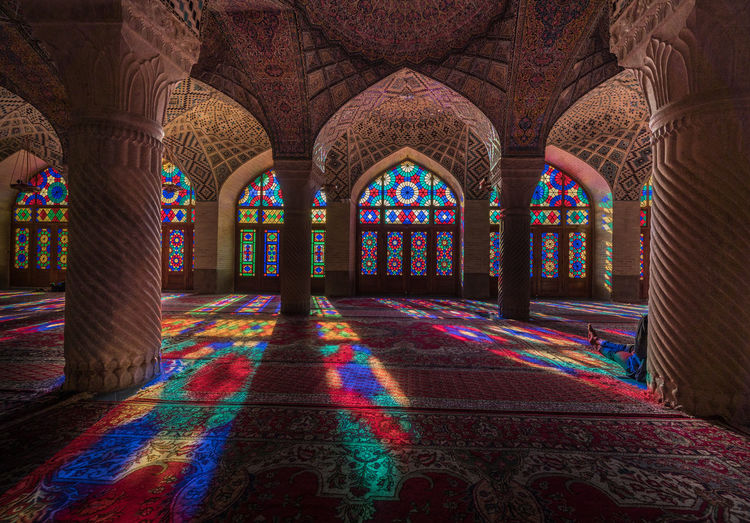 Multi colored columns in building