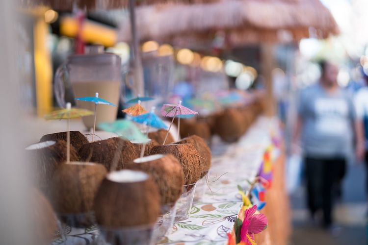 Coconut water for sale at market stall