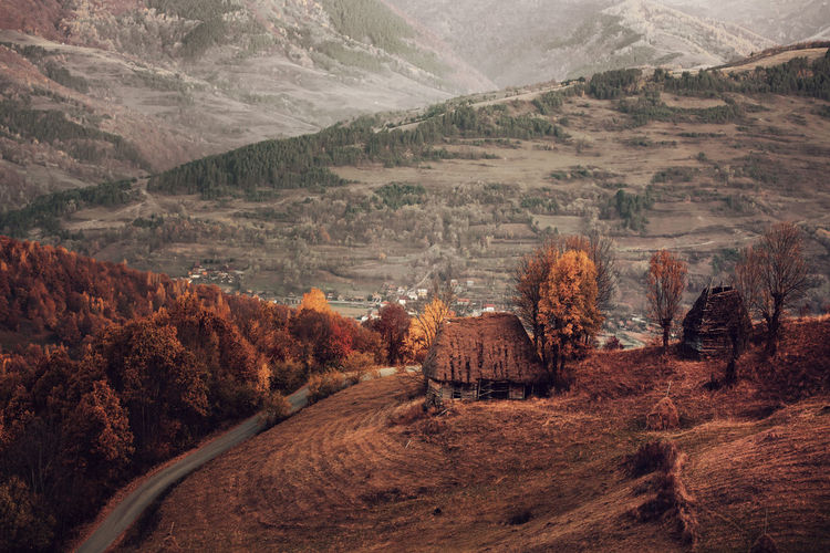 Scenic view of mountains during autumn