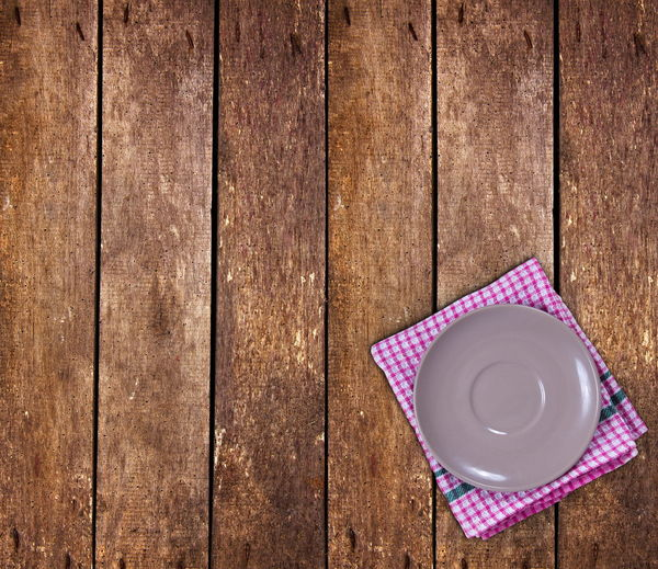 Directly above shot of empty coffee cup on table