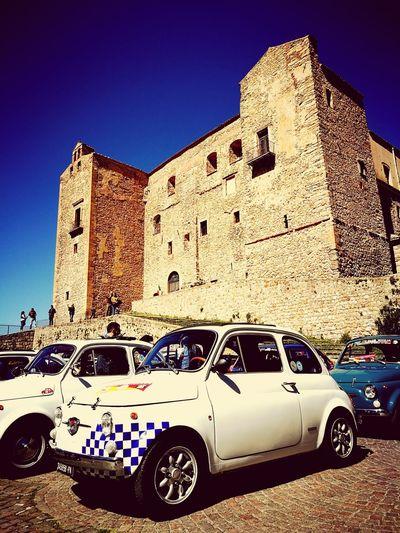 500 500 Fiat500 Fiat 500 Hold Car Car City Architecture Castelbuono Civilization Vintage Car Collector's Car Castle Ancient The Past