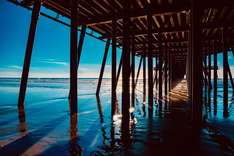 Water Sea Architecture Pier Sky Nature Day No People Reflection Horizon Over Water Built Structure Horizon Beach Scenics - Nature Underneath Tranquility Indoors  Architectural Column Tranquil Scene Wooden Post