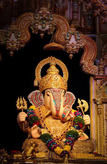 Religion Spirituality Statue Sculpture No People Close-up Ganesha Ganeshfestival GaneshChaturthi Ganesha Portrait DagdushethHalwaiGanpati Pune Maharashtra India The Week On EyeEm