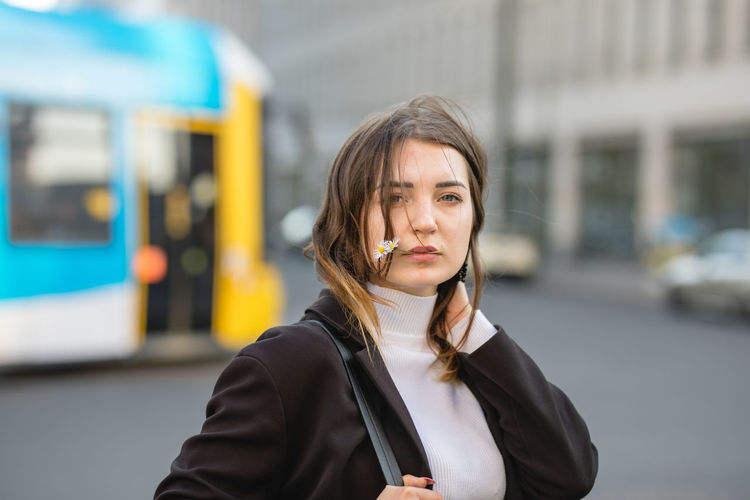 Public Transportation One Person Transportation Rail Transportation City Women Focus On Foreground Portrait Young Adult Mode Of Transportation Architecture Train City Life Train - Vehicle Lifestyles Front View Travel Beauty Hair Hairstyle Outdoors Beautiful Woman My Best Photo British Culture Exploring Fun Springtime Decadence