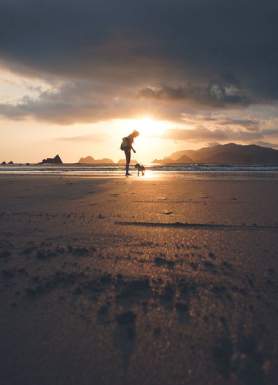 Silhouette woman standing on beach with dog against sky during sunset