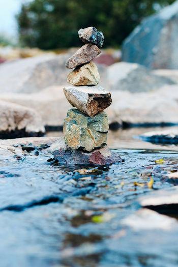 Stack of stones in stream