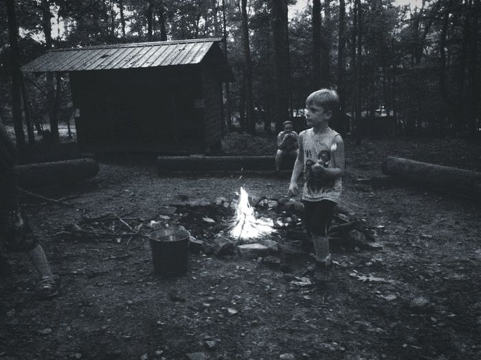 Camp Sidney Dew Camping Campfire My Son Campfire Circle Smores Lean To Black And White