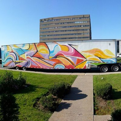 Abstract Mastrocola Truck Spraypaint colorize 53feet crazyfun montreal miami