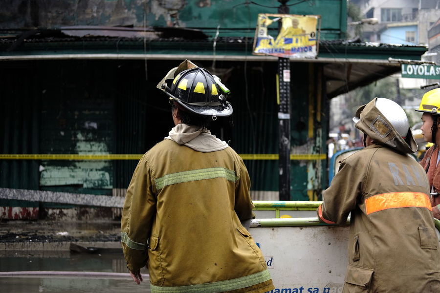 ManilaStreetPhotography Sooc Firefighter Philippines FUJIFILM X-T10 Two Is Better Than One Two Is Better Than One~ Two Is Better Than One. Standing Men Saving Lives And Homes Places And People