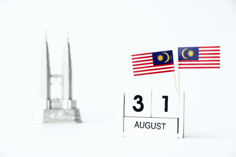 AUGUST 31 Wooden calendar Concept independence day of Malaysia and Malaysia national view with space for your text Invitation August 31 National National Day Calendar Day Independence Day Indoors  Malaysia Malaysia Flag Malaysian Merdeka Merdeka57 Text White Background