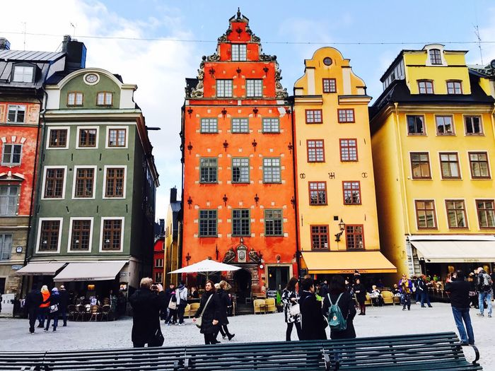 Stockholm Architecture Gamla Stan Colors Painted Houses Marketplace