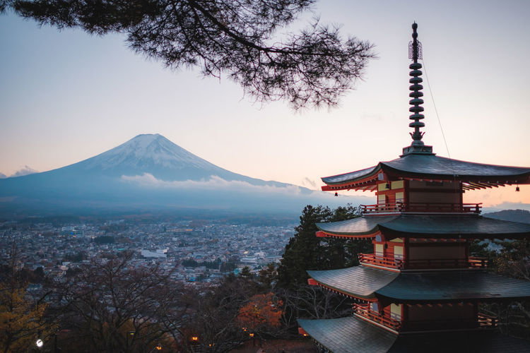 Temple Against Mt Fuji