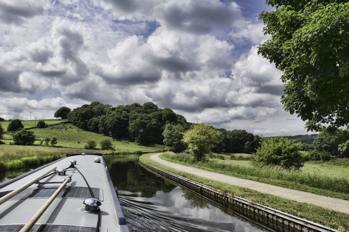 Travelling through the Yorkshire countryside at 4mph on the Leeds and Liverpool canal Yorkshire Narrowboat Canal Boat Uk England Water First Eyeem Photo Clouds Sky And Clouds Cloudscape Towpath