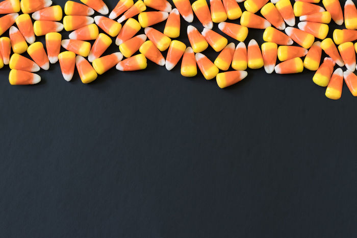 Black Background Halloween Black Background Border Candy Candy Corn Directly Above Minimal Minimalism No People Space For Text