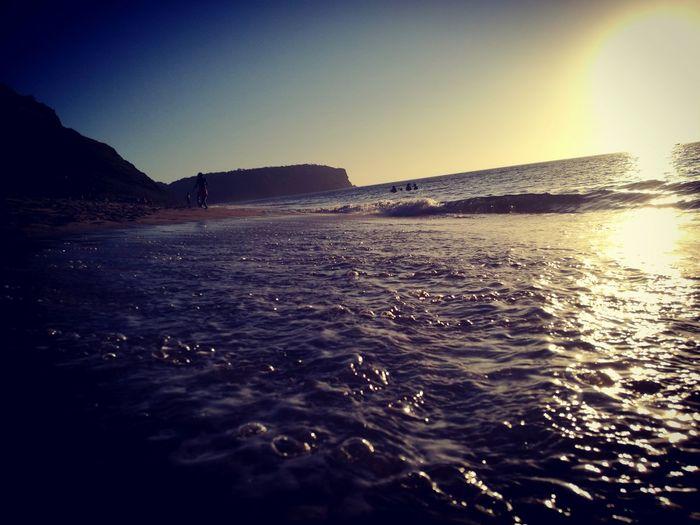 por do Ledo.... #angola Sea Water Sunset Clear Sky Wave Beach Sunlight Sky Planetary Moon Horizon Over Water Ocean Surf Calm Coast Tranquil Scene