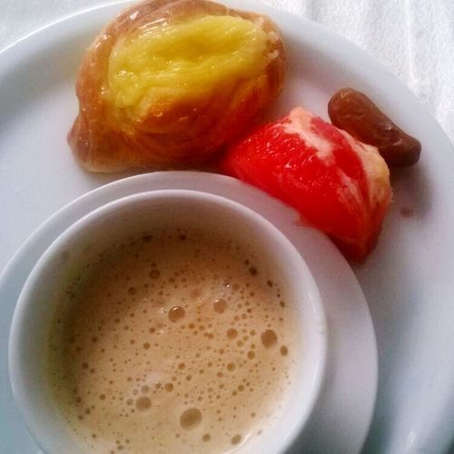 BreakfastTime  Dates Danish Pastry Grapfruit Cappuccino Hotel Breakfast Pink Grapefruit Froth Breakfast Visual Feast