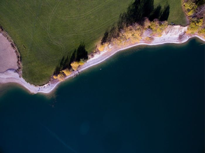 Aerial view of lakeshore in germany