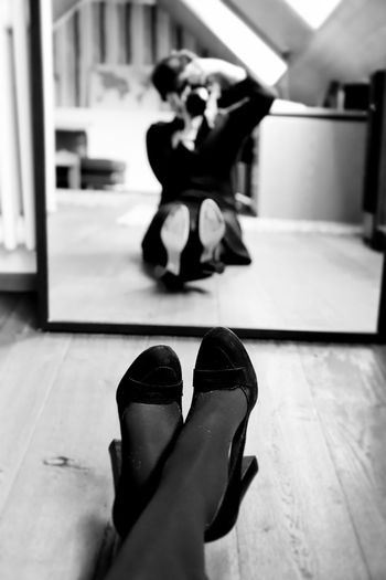 Mirror Mirror Reflection Photography Photography Themes Photographing Photograph Women Woman Portrait Portrait Of A Woman Self Portrait Fashion Shoes Black & White Black And White Selective Focus Women Of EyeEm Camera Camera - Photographic Equipment Creative Portrait Creativity Creative Real People Indoors  Flooring Adult Lifestyles Sitting Leisure Activity International Women's Day 2019