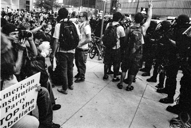 Protests at the 2008 Democratic National Convention (DNC) 2008 Democratic National Convention Black & White Film Protest Adult Adults Only Black And White Black And White Photography Blackandwhite Blackandwhite Photography Civil Disturbance Crowd Day Film Photography Large Group Of People Men Outdoors People Police Force Protesters Tri-x 400 Pushed Women
