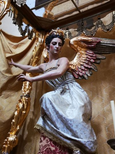 Cordoba Spain On Sale 17.62° Beauty Beautiful Woman Portrait Females Arts Culture And Entertainment Beautiful People Full Length Fashion Young Women Sculpture Idol Human Representation Art Angel Golden Color Statue Sculpted Venetian Mask