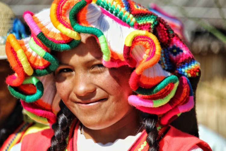 Uros girl Portrait Smiling Multi Colored Happiness Cheerful Headshot Women Looking At Camera Human Face City