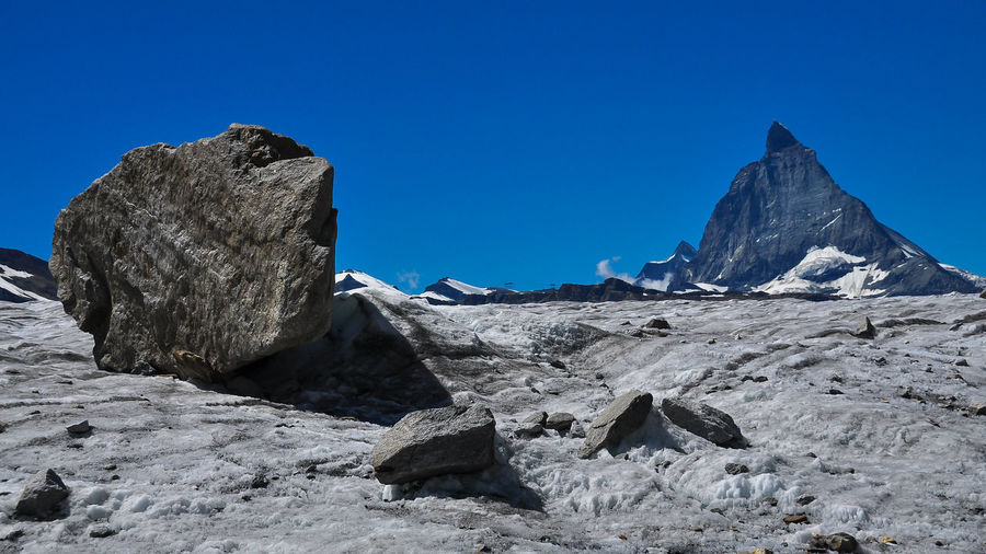 Matterhorn  Beauty In Nature Blue Clear Sky Day Eroded Formation Landscape Mountain Mountain Peak Nature No People Non-urban Scene Outdoors Physical Geography Remote Rock Rock - Object Rock Formation Scenics - Nature Sky Solid Tranquil Scene Tranquility