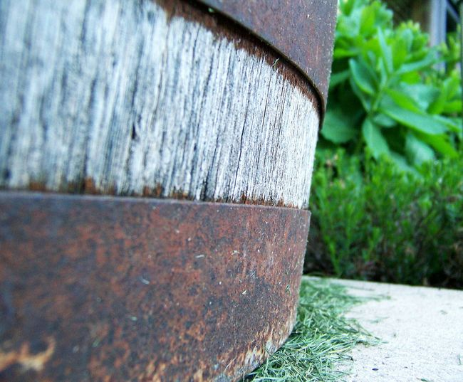 Wood - Material Textured  No People Outdoors Close-up Day Nature Backgrounds Grass Barrel Texture Barrel Art Backyard Backyardphotography Backyard Shots Wooden Texture Rust Rusty Rustic Style Rusted Metal  Rust And Wood