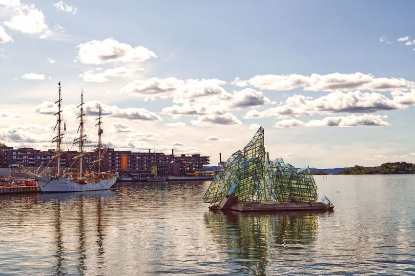 Pirates and ice Clouds And Sky Visit Oslo Oslobilder Fjord Sculpture She Lies Oslo Water Transportation Sky Nautical Vessel Mode Of Transportation Cloud - Sky Nature Ship Waterfront Sailboat