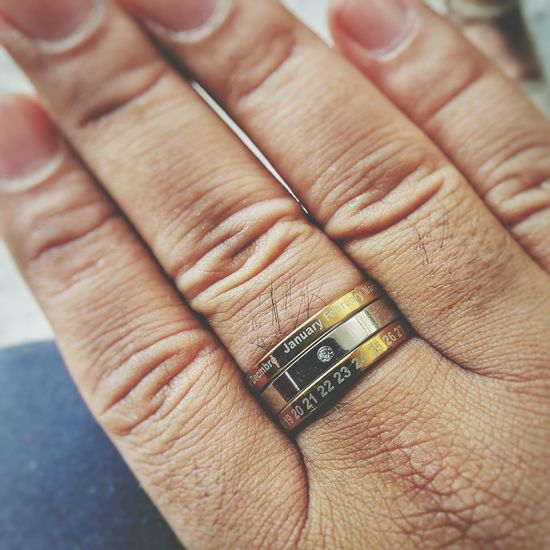 Human Body Part Human Hand Human Finger Close-up Jewelry Fingernail Ring Calendar Calendar Ring Solitaire Date Month
