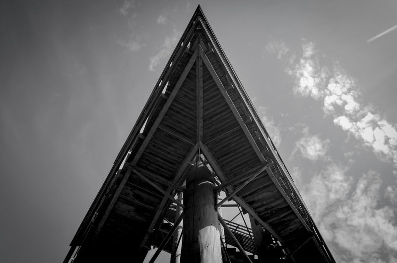 Black & White High Stairs Weißtannenturm Architecture Blackandwhite Building Exterior Built Structure Cloud - Sky Day Low Angle View Nature No People Outdoors Sky Tower Transportation Wood - Material