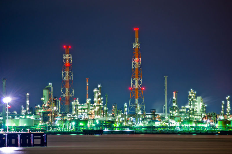 Fuel And Power Generation Oil Industry Night Illuminated Industry Refinery Sky Factory Built Structure Architecture Building Exterior No People Nature Technology Oil Refinery Outdoors Lighting Equipment Refueling Smoke Stack Filling Chemical Plant Pollution Chemical Plant Yokohama Japan Japan Photography Pentax