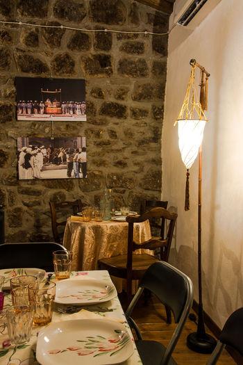 Cena Da Fiaba Colors Countrystyle Dinner Room Dishes Elegant Glasses Lanp Set Table Still Life