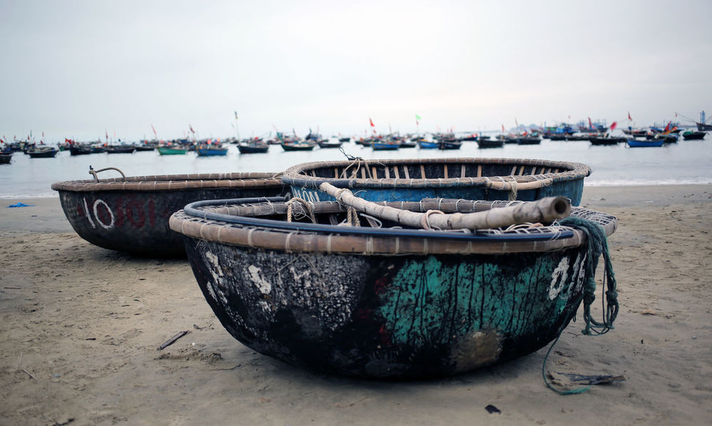 """""""Fishing Boats"""" ASIA Beach Boat Boats Fishing Fishing Boat Fishing Boats Hoi An Mode Of Transport Moored Nautical Vessel No People Outdoors Sand Sea Shore Tranquility Transportation Vietnam Water Working Boat"""