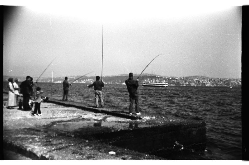 Analogue Photography Black And White Film Bw Photography Everyday Asia Film Photography Fishermen Fishermen In Istanbul - 2013 Horizon Over Water Marmara Sea Outdoors People Sea The Street Photographer - 2016 EyeEm Awards Turkey Zenit Zenit122 Welcome To Black The Street Photographer - 2017 EyeEm Awards