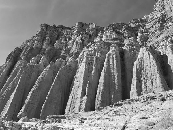 Low angle view of vertical rock formations and spires in black and white Black And White Red Rock Canyon State Park Hoodoos Rock Formations Vertical Rock Formation Rock Pillars Low Angle View Outdoors Sky No People Day Nature Beauty In Nature Mountain