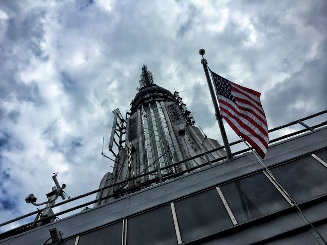 Architectural Column Architecture Building Exterior Built Structure Capital Cities  City Life Cloud Cloud - Sky Cloudy Day Empire State Building Famous Place High Section Low Angle View New York New York City No People Outdoors Rainy Sky Top USA USA FLAG