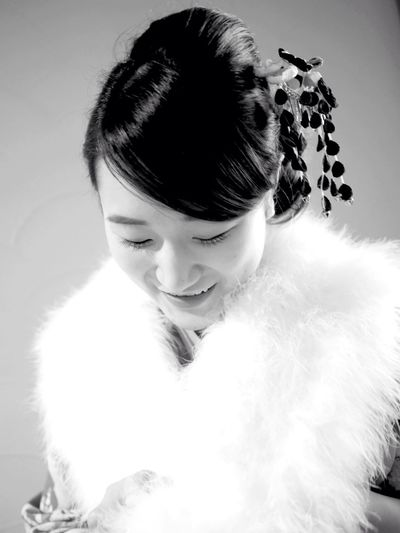 Real People Front View One Person Lifestyles Young Women Young Adult Headshot Looking Down Leisure Activity Close-up Indoors  Hair Bun Happiness Beautiful Woman Standing Portrait Home Interior White Background Day Comingofageceremony Japan Japanese Culture Kimono Kimono Monochrome