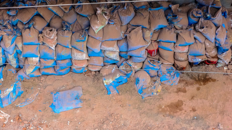 Stack of sack at construction site