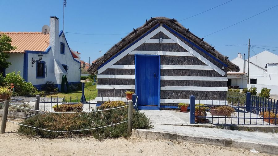 Thatched House Carrasqueira Cultural Heritage White And Blue Portugal Blue Sky Summertime Phone Photography Showcase July Color Of Life