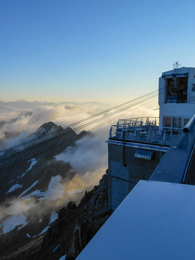 cable car, pic du midi Mountain Range Mountains Pyrenees Pic Du Midi Cable Car Sunset Observatory Tourist Attraction  Snow Last Rays Of Sunlight Clouds Below Mountain Sunset Cold Temperature Hight Altitude Summer Clear Sky Sky Calm