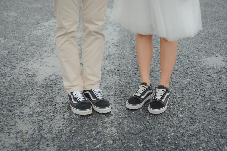 wedding Low Section Shoe Human Leg Standing Body Part Women Lifestyles Two People City Street Outdoors Togetherness Adult Day Human Foot Couple - Relationship Positive Emotion Human Body Part Love Wedding Wedding Photography