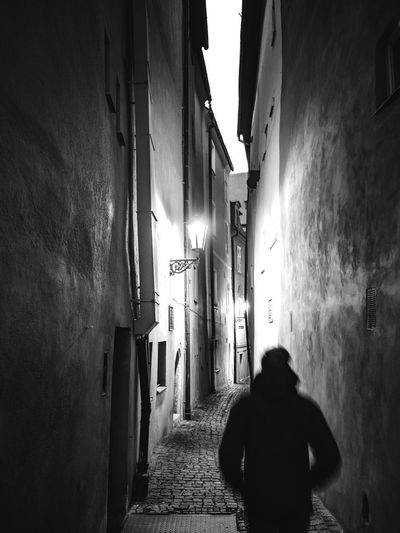 narrow street. Old City Blackandwhite Lumixg9 Architecture Built Structure Building Exterior Silhouette The Way Forward Real People Day One Person