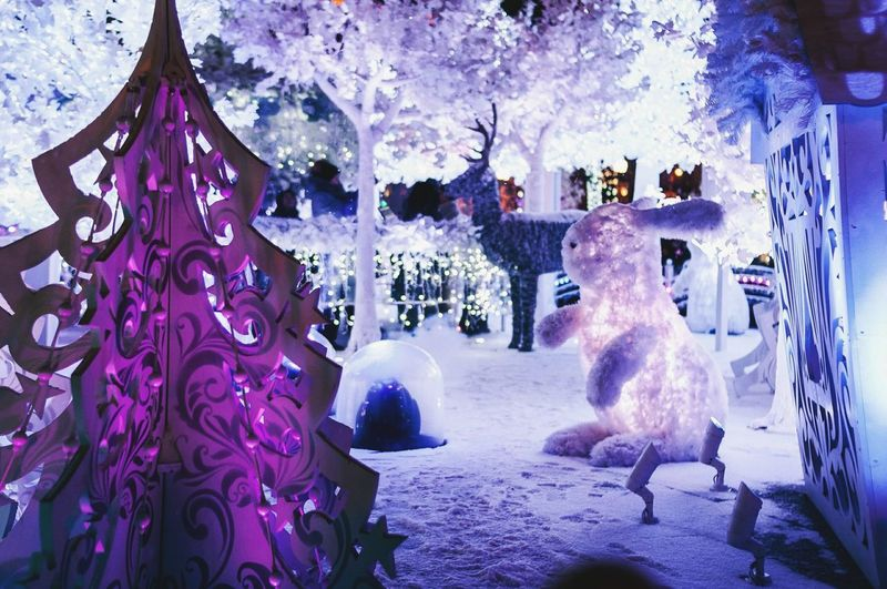 No People Illuminated Tree Christmas Christmas Tree Animal Themes Outdoors Arts Culture And Entertainment New Year Fair New Year Around The World Christmas Nightlife Christmas Decoration Russia Russian Tradition Winter New Year's Eve Christmas Lights Christmas Around The World Christmas Time Night Fair